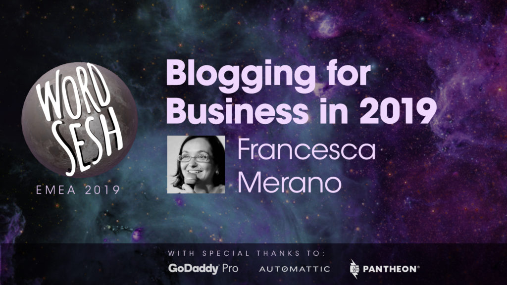"Title slide for ""Blogging for Business in 2019"""