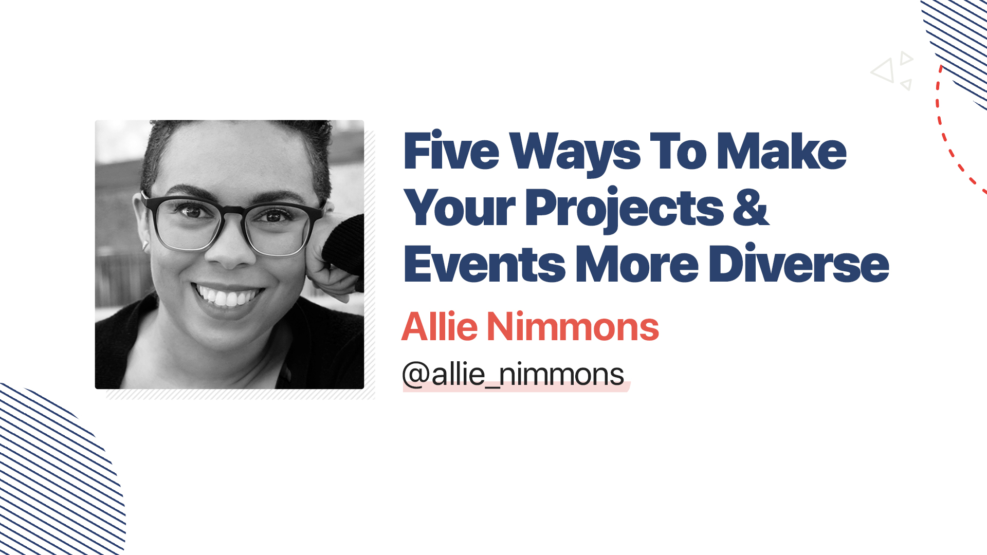 Title slide for: Five Ways To Make Your Projects and Events More Diverse