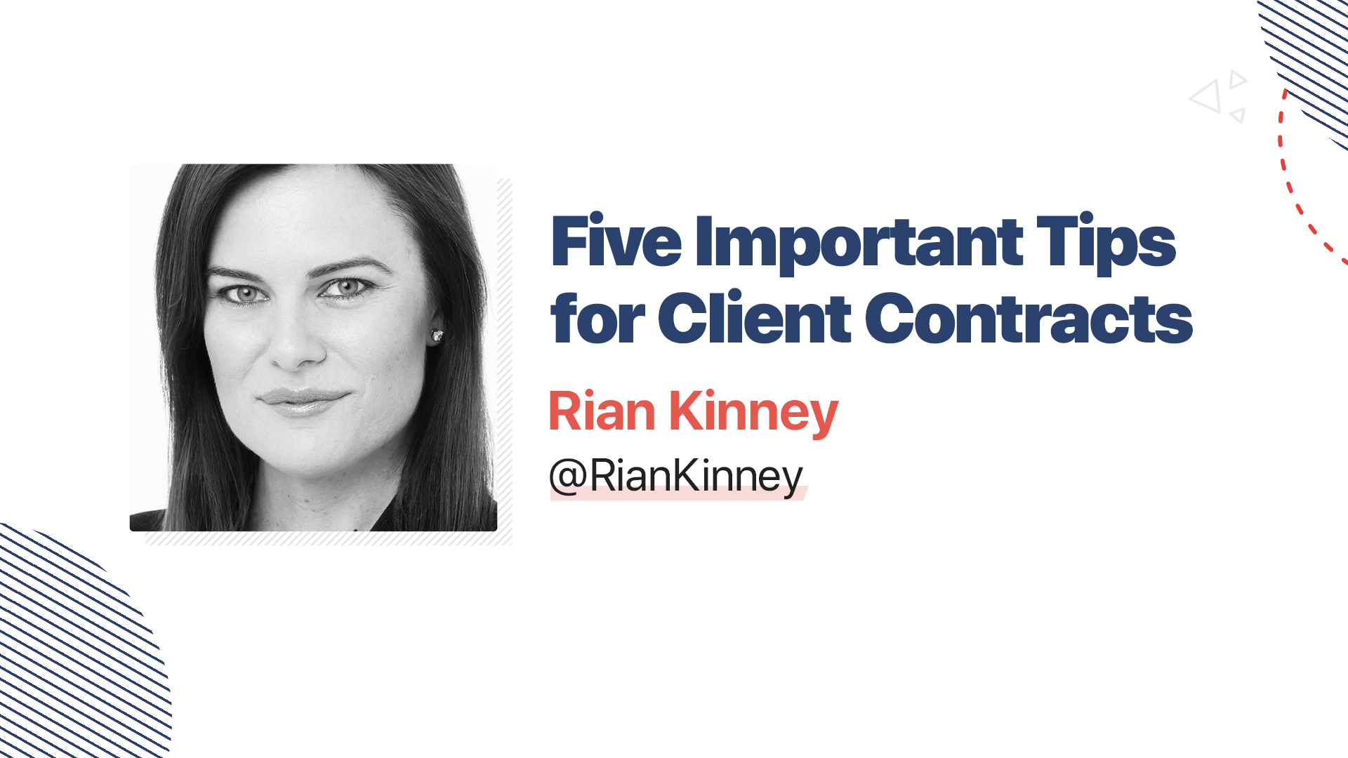 Title slide for: Five Important Tips for Client Contracts
